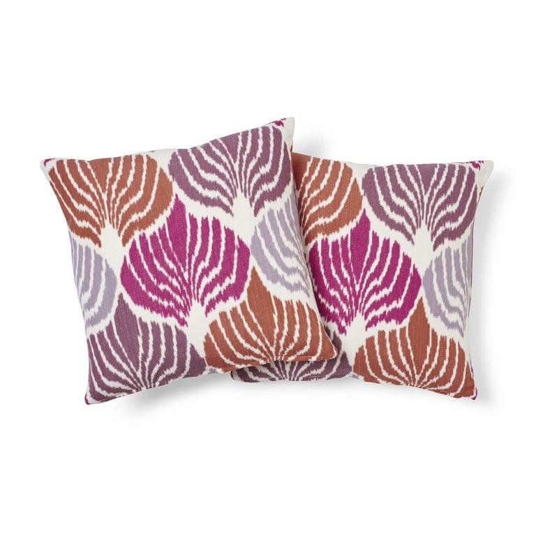 Modern Schumacher Kimono Ikat Berry Two-Sided Linen Cotton Pillow For Sale