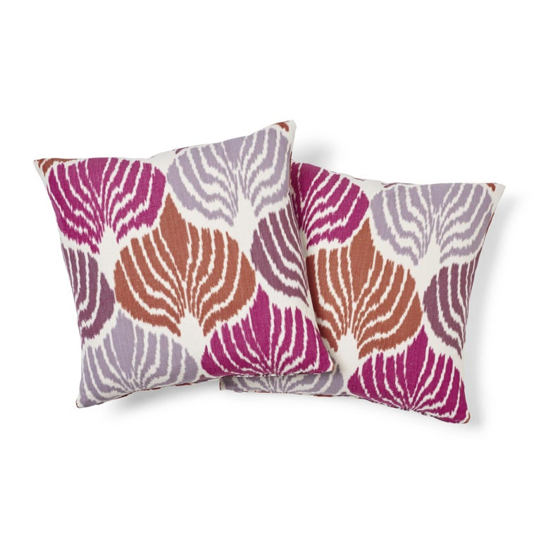Swiss Schumacher Kimono Ikat Berry Two-Sided Linen Cotton Pillow For Sale