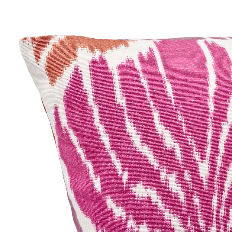 Schumacher Kimono Ikat Berry Two-Sided Linen Cotton Pillow In New Condition For Sale In New York, NY