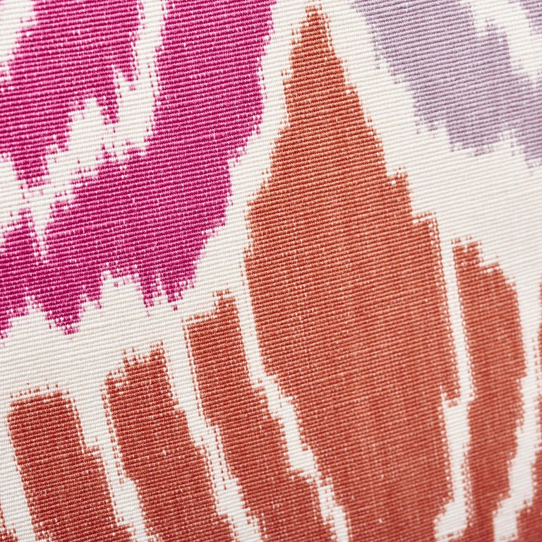Contemporary Schumacher Kimono Ikat Berry Two-Sided Linen Cotton Pillow For Sale