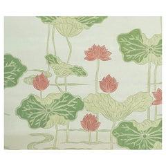 Schumacher Kireina Lotus Wallpaper Mural in Coral Ivory