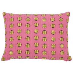 Schumacher Lady Bird Tape Pink Yellow Cotton Lumbar Pillow