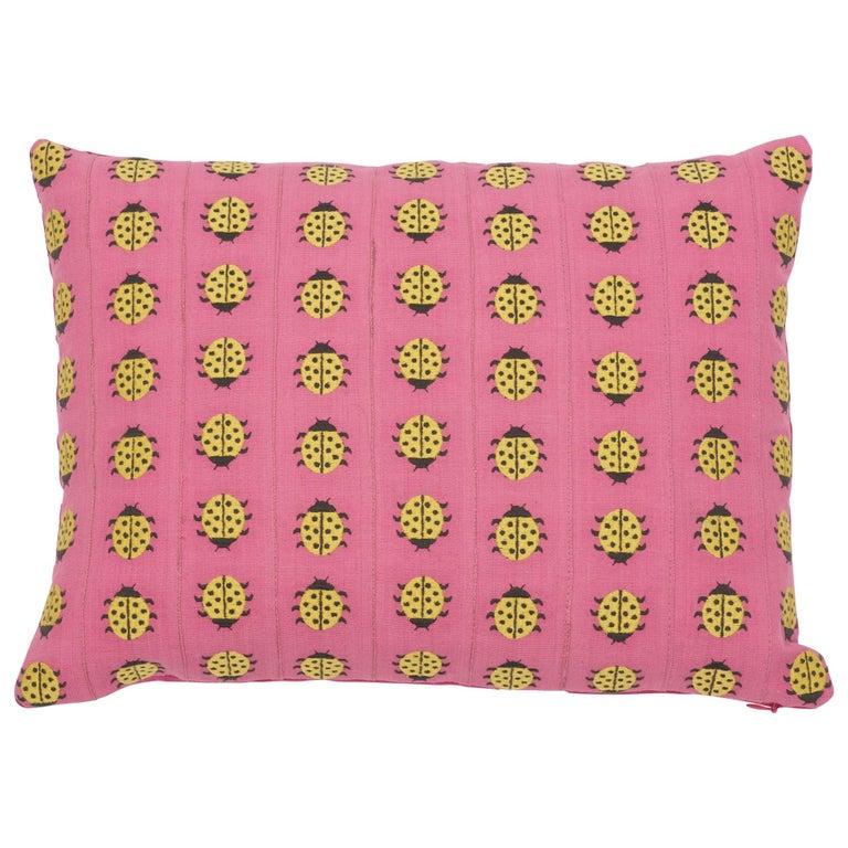 Schumacher Lady Bird Tape Pink Yellow Cotton Lumbar Pillow For Sale At 1stdibs