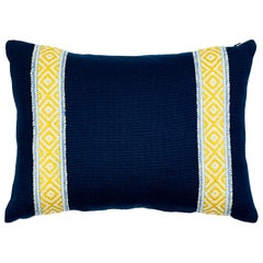Schumacher Larson Tape & Piet Performance Linen Yellow Blue Two-Sided Pillow