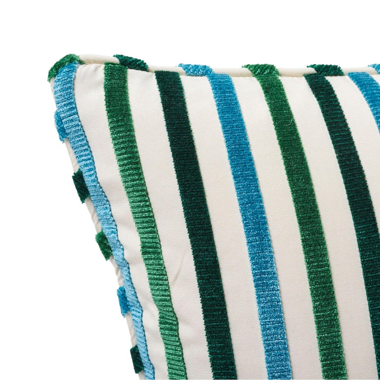 Modern Schumacher Le Matelot Peacock Two-Sided Pillow For Sale