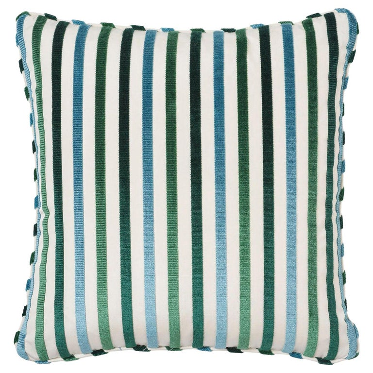 Schumacher Le Matelot Peacock Two-Sided Pillow For Sale