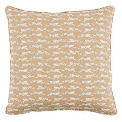 "Schumacher Leaping Leopards 18"" Cotton Pillow"