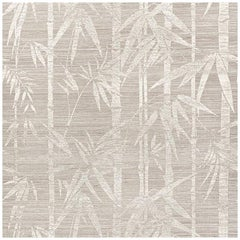 Schumacher Les Bambous Sisal Botanical Hand Printed Wallpaper in Fog