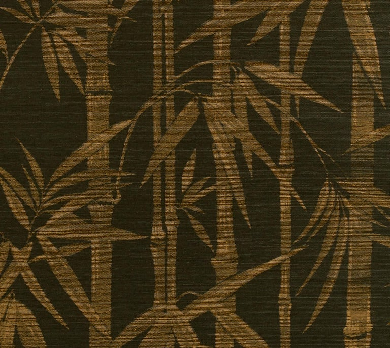 Modern Schumacher Les Bambous Sisal Botanical Hand-Printed Wallpaper in Gold on Jet For Sale