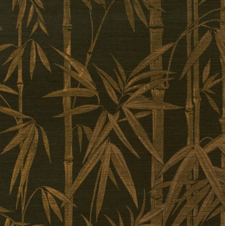 American Schumacher Les Bambous Sisal Botanical Hand-Printed Wallpaper in Gold on Jet For Sale