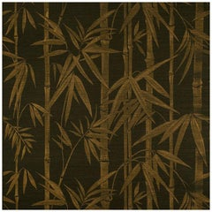 Schumacher Les Bambous Sisal Botanical Hand-Printed Wallpaper in Gold on Jet