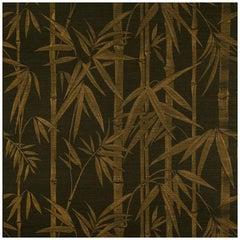 Schumacher Les Bambous Sisal Botanical Hand-Printed Wallpaper in Gold on Jet
