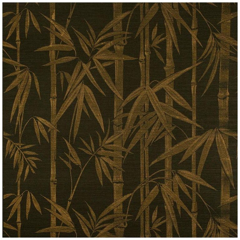 Schumacher Les Bambous Sisal Botanical Hand-Printed Wallpaper in Gold on Jet For Sale