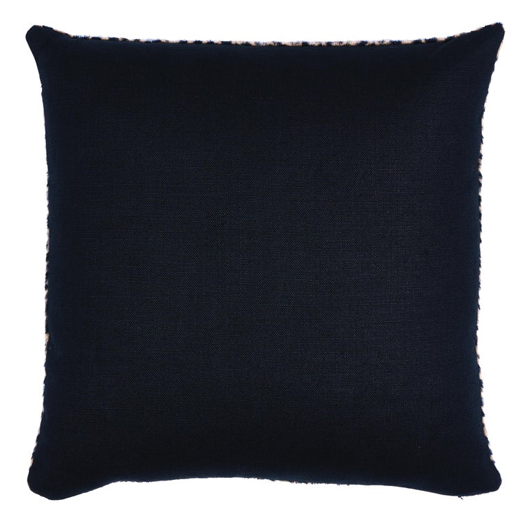 This pillow features Lilya Leopard with a knife edge finish. A sexy blend of baby alpaca and virgin wool gives this chic leopard pattern its soft, dreamy texture. It's a fabulous accent that adds a touch of exotic luxury to any setting. Back of