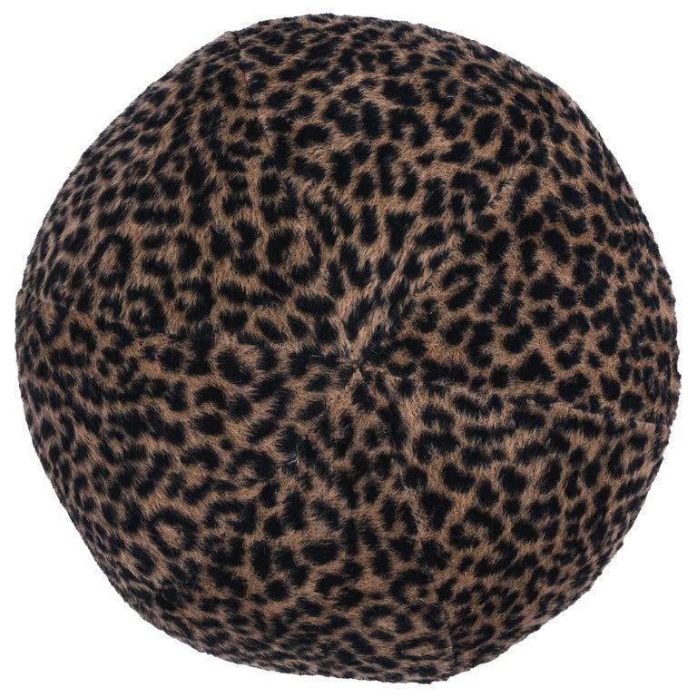 Schumacher Lilya Leopard Sphere Pillow in Natural For Sale