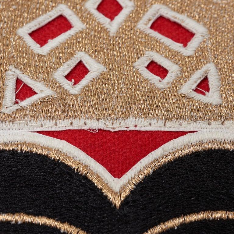 Modern Schumacher Lionheart Applique Black Gold Red Cotton Wool Lumbar Pillow For Sale
