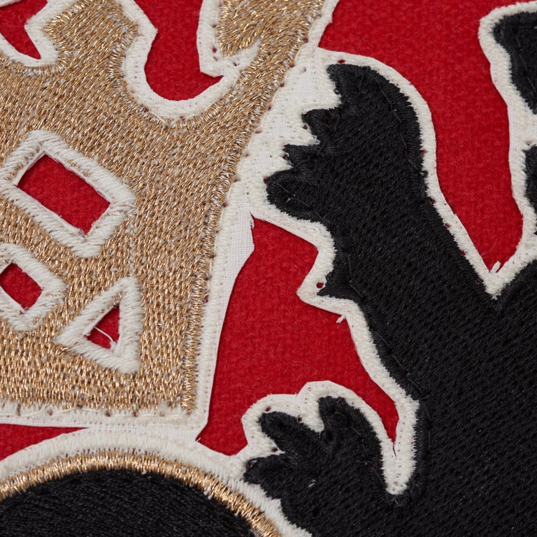Schumacher Lionheart Applique Black Gold Red Cotton Wool Lumbar Pillow In New Condition For Sale In New York, NY
