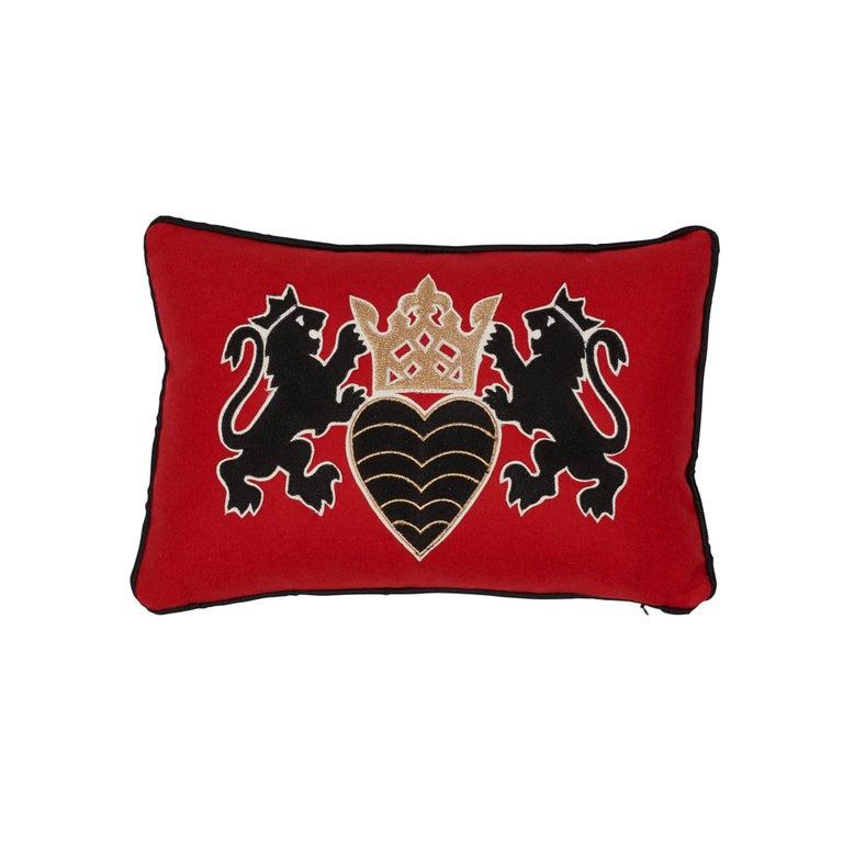 Schumacher Lionheart Applique Black Gold Red Cotton Wool Lumbar Pillow For Sale