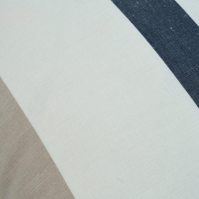 Scandinavian Modern Schumacher Lolland Linen Stripe Pillow in Grey Sand For Sale