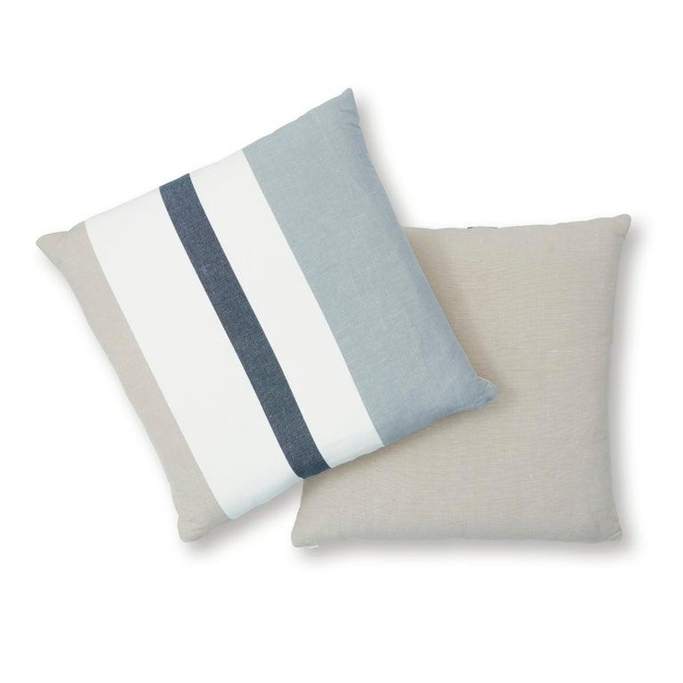 Indian Schumacher Lolland Linen Stripe Pillow in Grey Sand For Sale