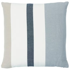 Schumacher Lolland Linen Stripe Pillow in Grey Sand