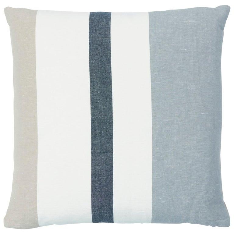Schumacher Lolland Linen Stripe Pillow in Grey Sand For Sale