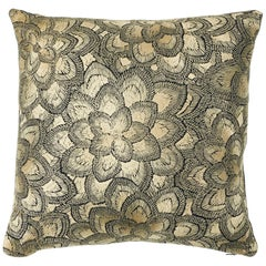 Schumacher Lotus Embroidery Pillow in Gold