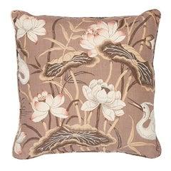"Schumacher Lotus Garden 22"" Pillow in Mocha"