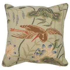 Schumacher Lotus Garden Aqua Two-Sided Linen Pillow