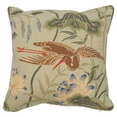Schumacher Lotus Garden Aqua Two-Sided Linen Pillow