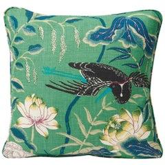 """Schumacher Lotus Garden Japanese Floral Jade Green Linen Two-Sided 18"""" Pillow"""