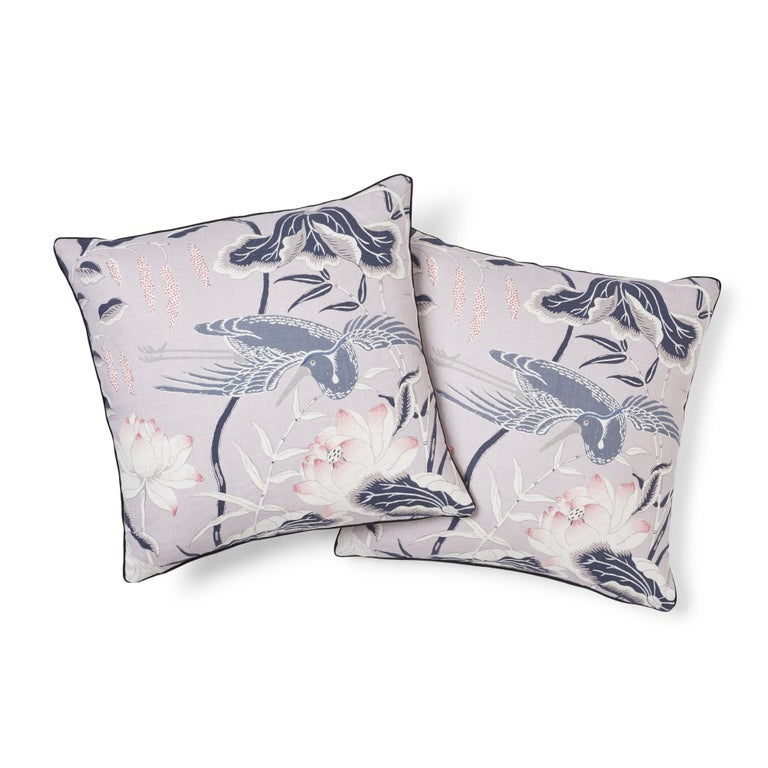 Modern Schumacher Lotus Garden Japanese Floral Lilac Two-Sided Linen Pillow For Sale