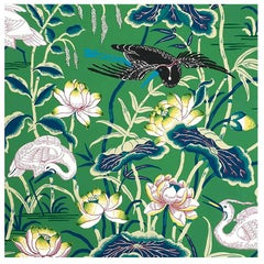 Schumacher Lotus Garden Japanese Natural Motif Jade Wallpaper