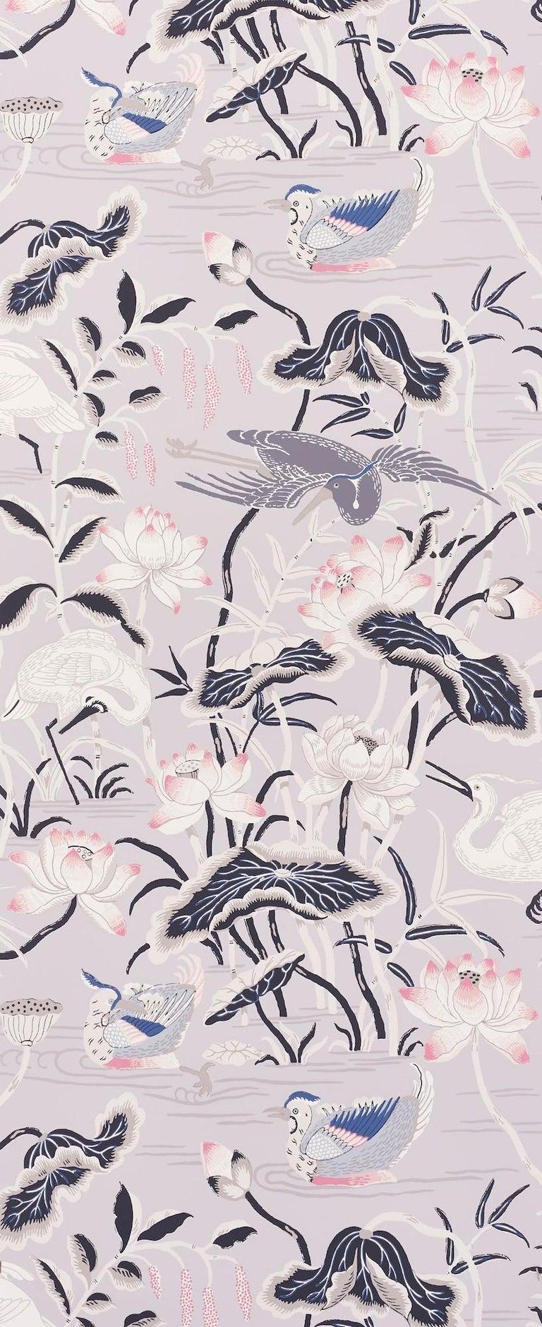 Japonisme Schumacher Lotus Garden Japanese Natural Motif Lilac Wallpaper For Sale