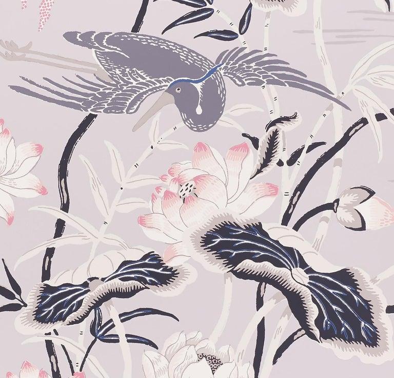 American Schumacher Lotus Garden Japanese Natural Motif Lilac Wallpaper For Sale