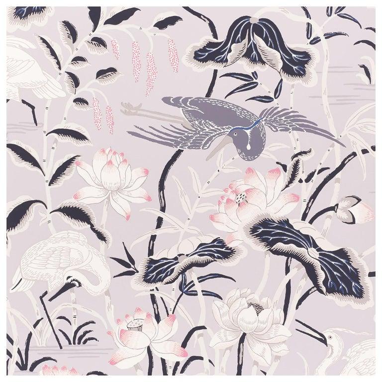 Schumacher Lotus Garden Japanese Natural Motif Lilac Wallpaper For Sale