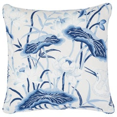 Schumacher Lotus Garden Pillow in Porcelain