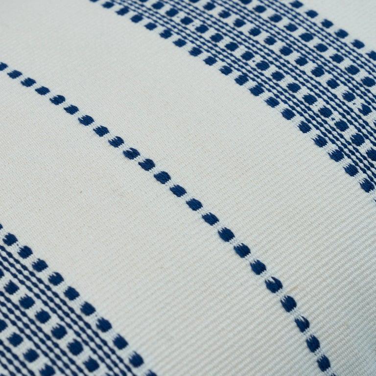 Scandinavian Modern Schumacher Lubeck Stripe Pillow in Navy For Sale