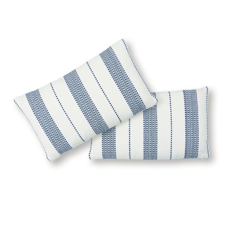 Indian Schumacher Lubeck Stripe Pillow in Navy For Sale