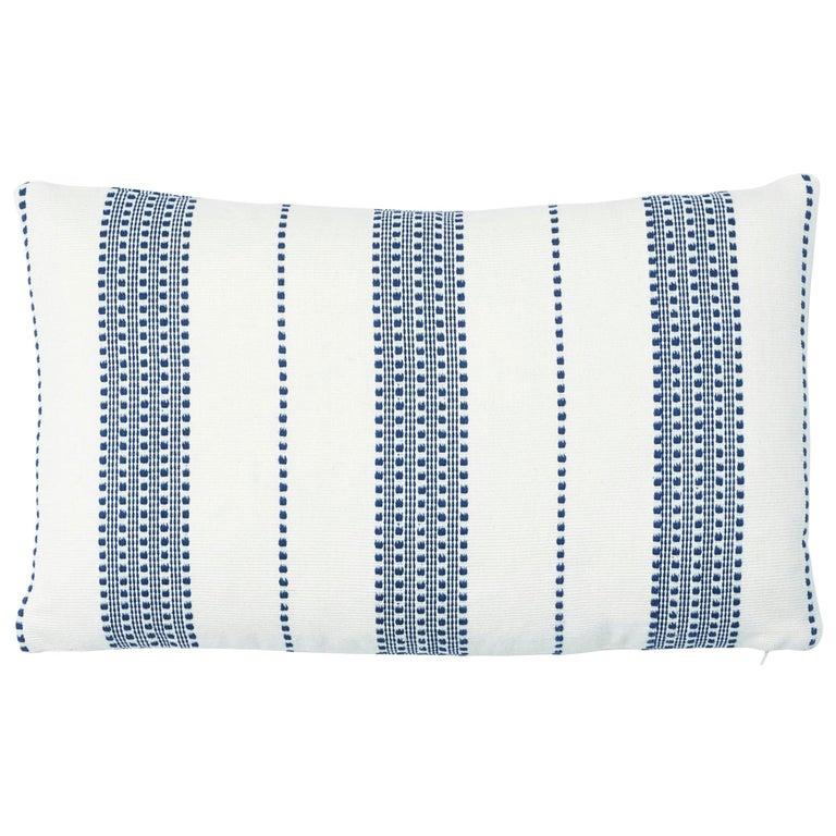Schumacher Lubeck Stripe Pillow in Navy For Sale