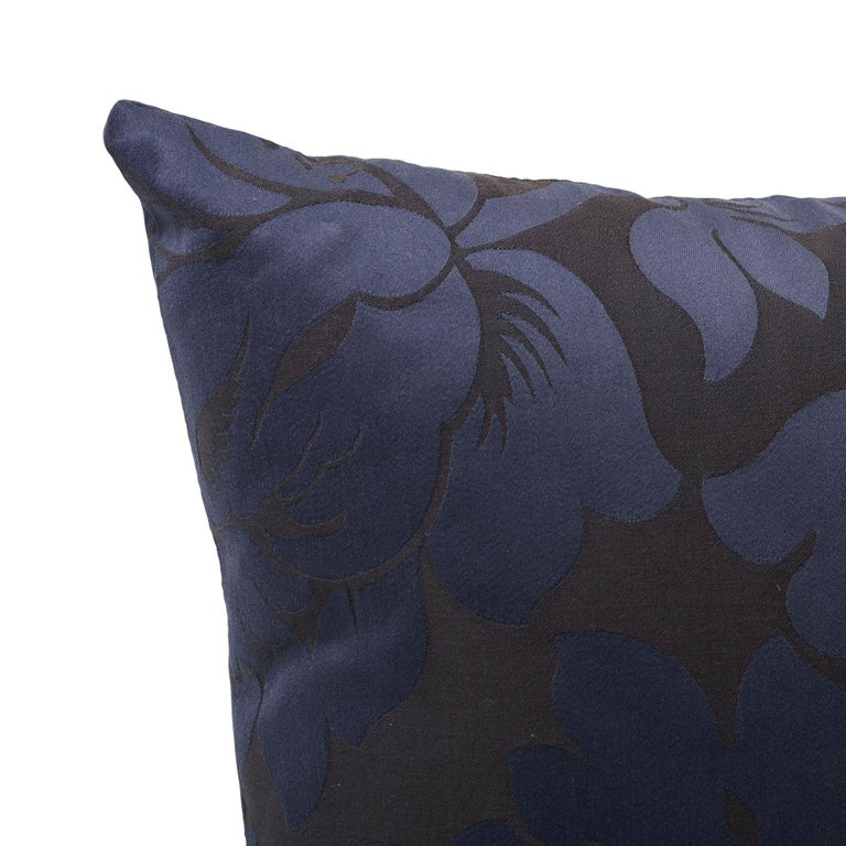 Modern Schumacher Maggiore Damasco Midnight Two-Sided Cotton Pillow For Sale