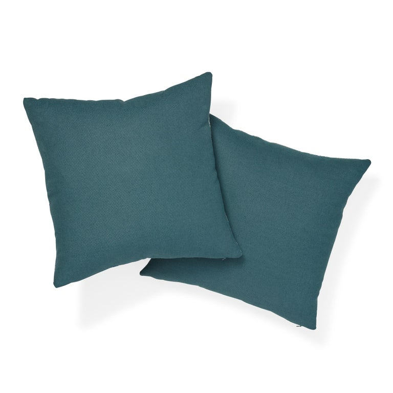 Schumacher Magic Mountain Dragon Blue Cotton Linen Pillow In New Condition For Sale In New York, NY
