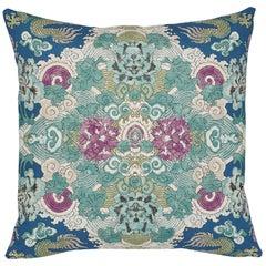Schumacher Magic Mountain Dragon Blue Cotton Linen Pillow