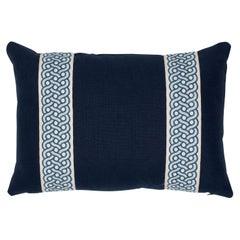 Schumacher Mandeville Tape Piet Performance Linen Indigo Linen Two-Sided Pillow