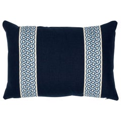 Schumacher Mandeville Tape Piet Performance Linen Indigo Linen Two-Sided Pillow