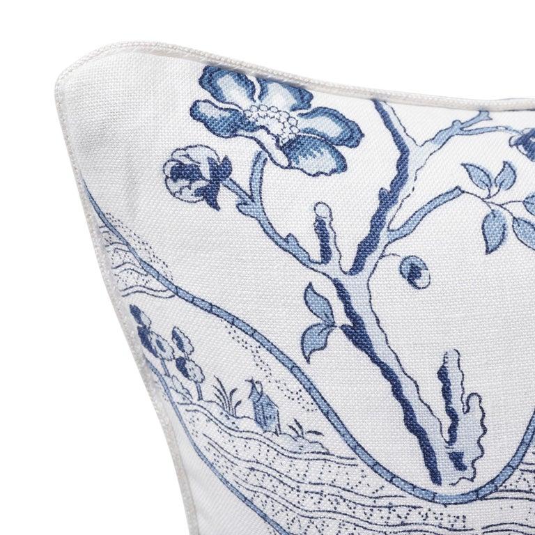 Modern Schumacher Marella Delft Botanical Trellis Two-Sided Linen Pillow For Sale