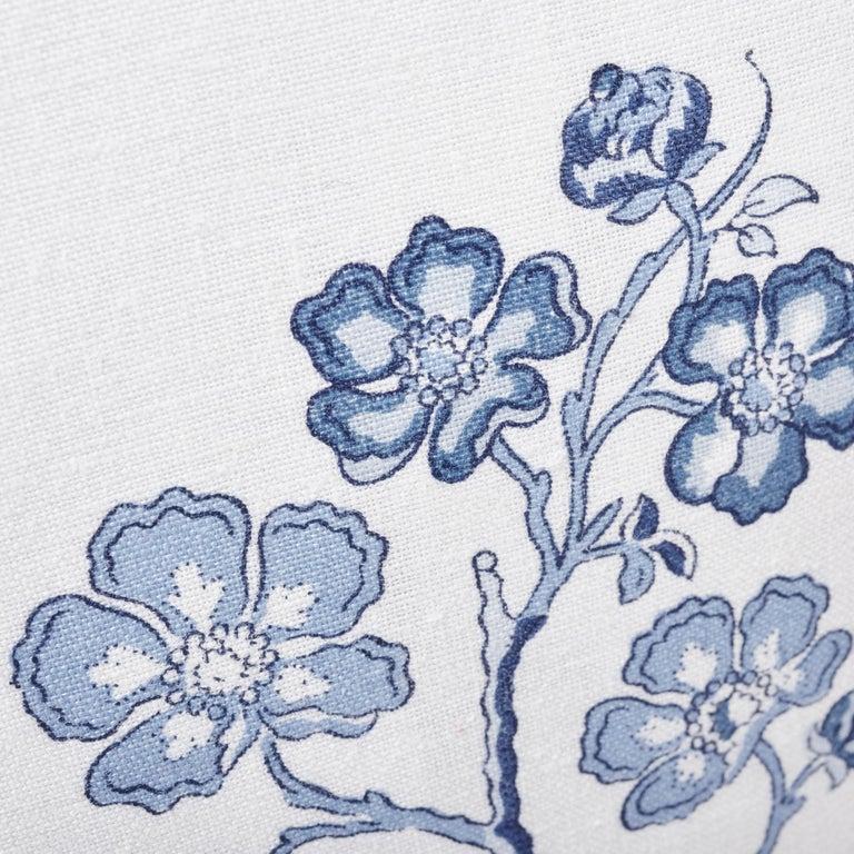British Schumacher Marella Delft Botanical Trellis Two-Sided Linen Pillow For Sale