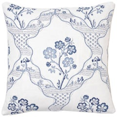Schumacher Marella Delft Botanical Trellis Two-Sided Linen Pillow