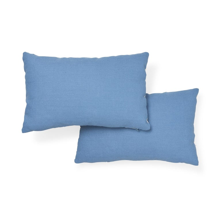 Contemporary Schumacher Marguerite Embroidery II Sky Wool Linen Pillow For Sale