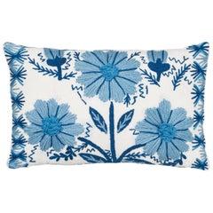 Schumacher Marguerite Embroidery II Sky Wool Linen Pillow